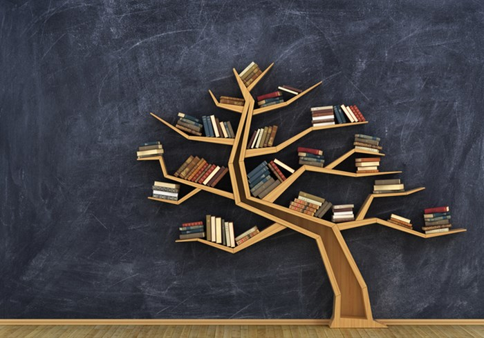 Book case shaped like a tree