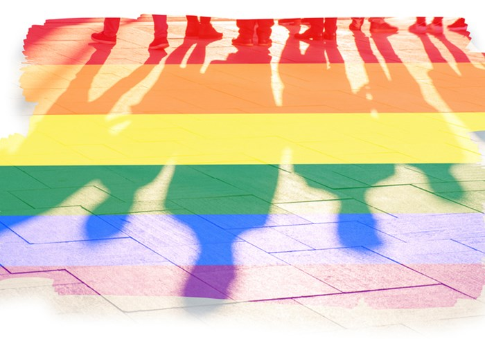 Rainbow flag with shadow of humans walking over it