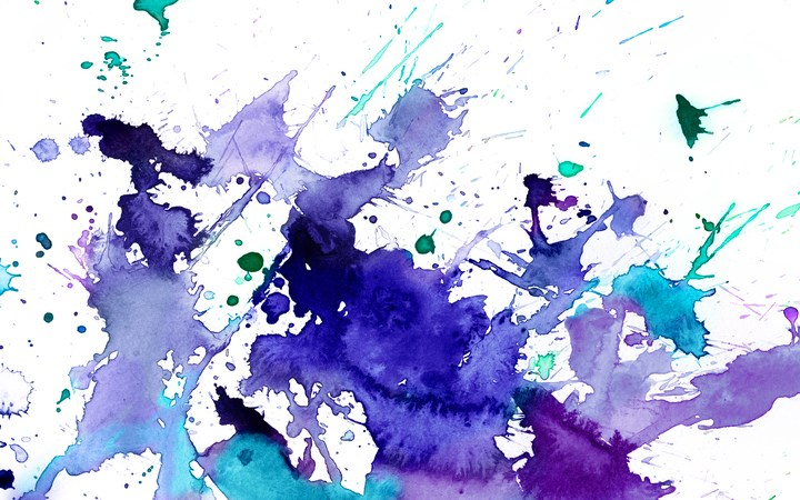Watercolour splotches of purple and blue