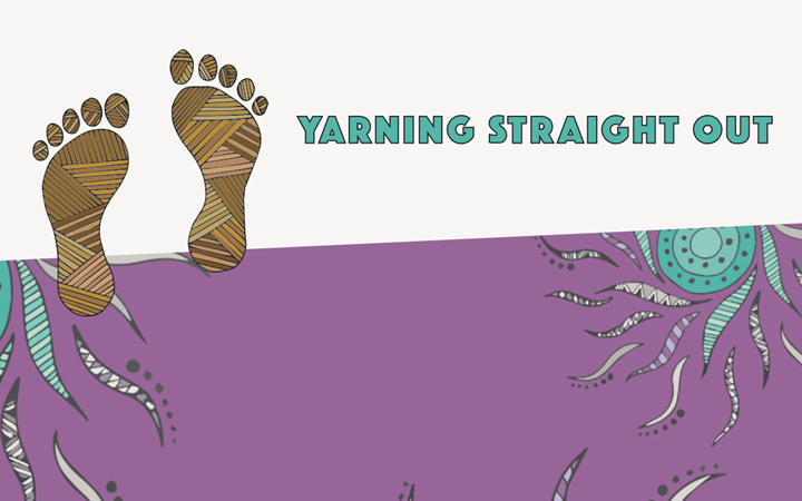 Yarning straight out text with footprints